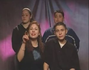 "The Arvizo family during the shooting of the so called ""rebuttal video"" on February 20, 2003"